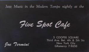 Tarjeta de visita del Five Spot Café de 1958