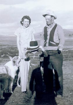 Berneta, Ivan, and Charlie Doig in Montana; ranch life before the winter of '44